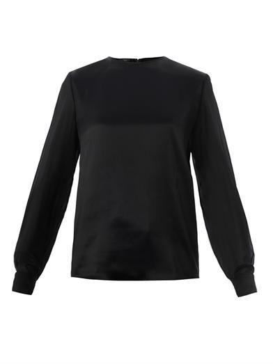Giambattista Valli Jewelled cuff satin blouse
