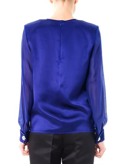 Giambattista Valli Jewelled cuff satin blouse