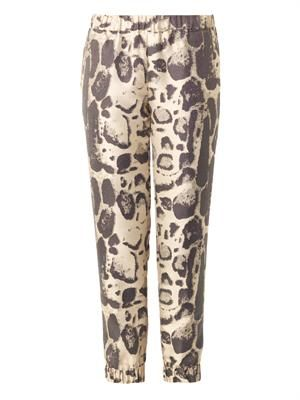 Leopard-jacquard cropped trousers