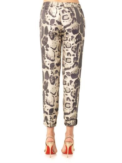 Giambattista Valli Leopard-jacquard cropped trousers