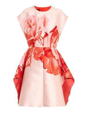 Floral-jacquard satin-twill dress