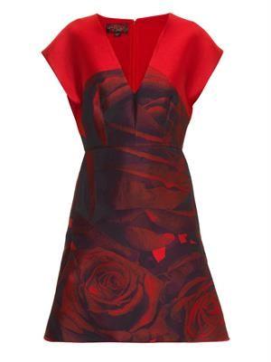 Rose-jacquard satin-twill dress