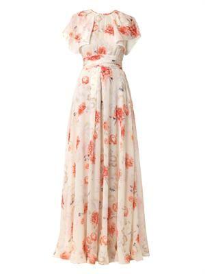 Floral-print silk-georgette gown