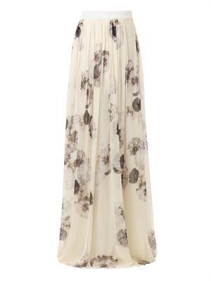 Floral-print silk-chiffon skirt