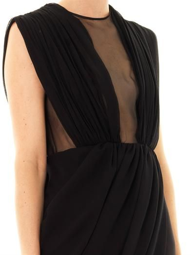 Giambattista Valli Sheer panel draped silk dress