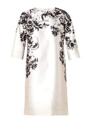Floral-print satin-crepe dress