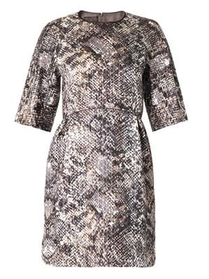 Metallic reptile-jacquard dress