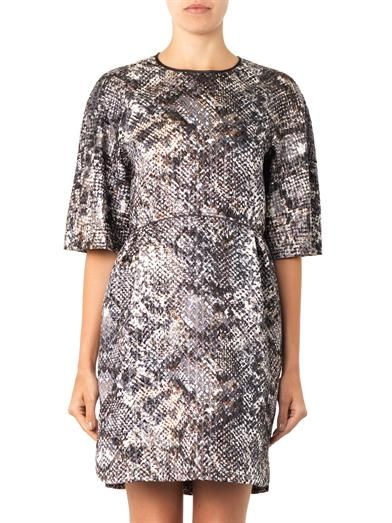 Giambattista Valli Metallic reptile-jacquard dress
