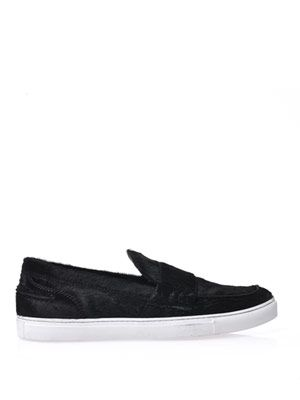 Calf hair flat skater shoes