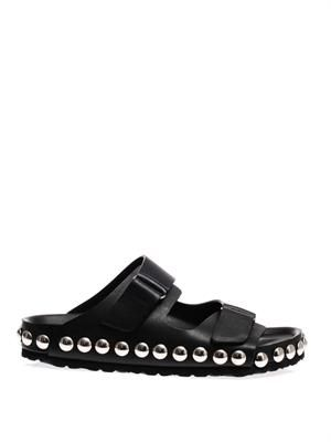 Studded leather pool slides