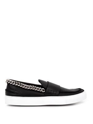 Chain-trimmed slip-on leather trainers