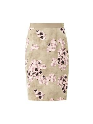 Pansy-print pencil skirt