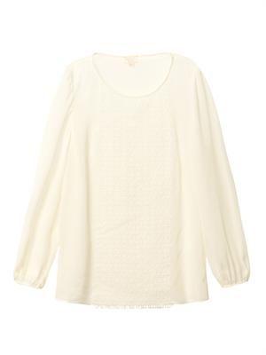 Lace-front chiffon blouse