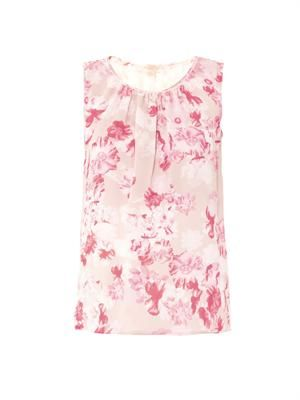 Floral-print silk sleeveless top