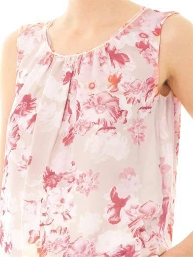 Giambattista Valli Floral-print silk sleeveless top