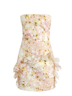 All-over floral organza strapless dress