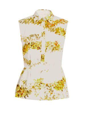 Garland-print peplum blouse