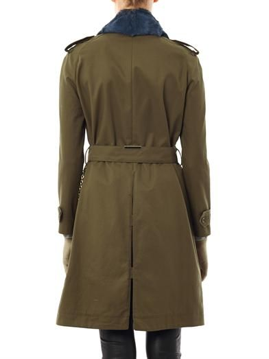 Sophie Hulme Fur-collar cotton trench coat
