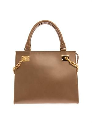 Structured chain-side leather tote