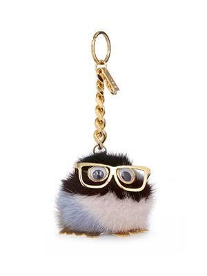 Mink-pompom key ring