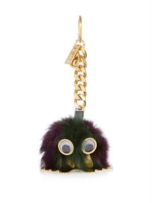 Rabbit-fur pompom key ring