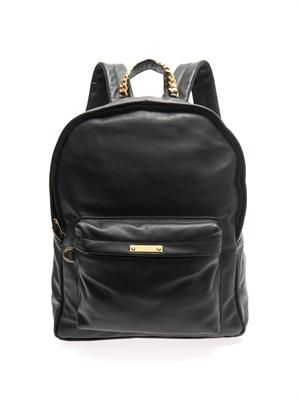 Front-pocket leather backpack