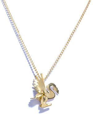Swan gold-plated necklace
