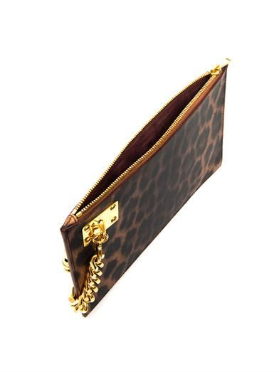 Sophie Hulme Leopard-print leather clutch
