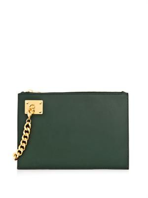 Bi-colour leather clutch