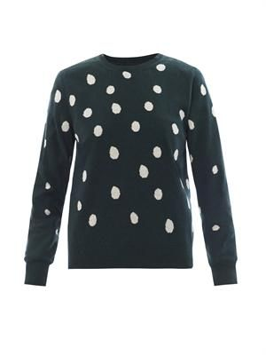 Frog spot-intarsia cotton sweater