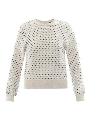 Mirco spot-intarsia cotton-knit sweater