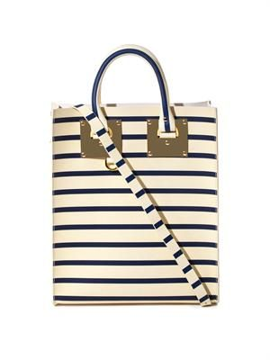 Mini Buckle striped leather tote