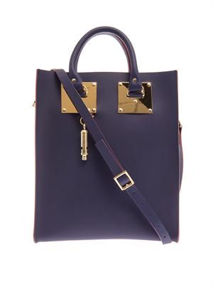 Structured buckled leather mini tote