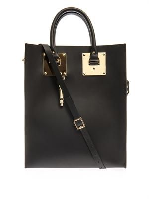 Structured buckle leather tote