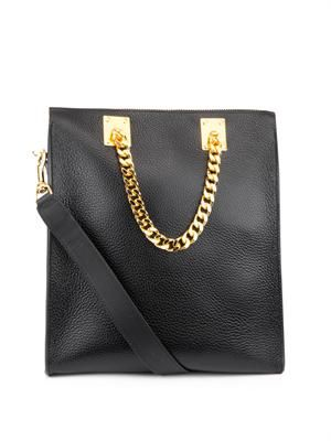 Chain-handle leather shopper