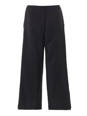 Wide-leg pleat-side trousers