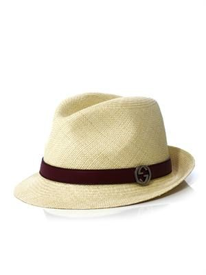Panama leather trim straw hat