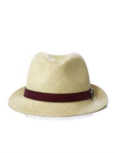 Gucci Panama leather trim straw hat