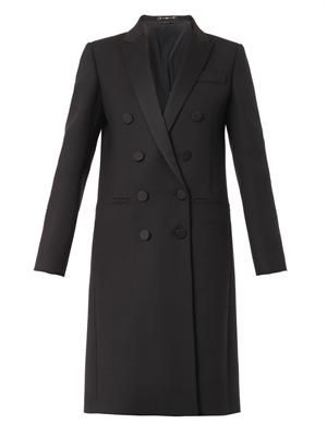 Satin-lapel double-breasted coat