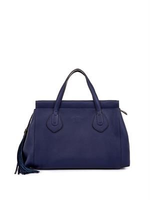 Lady tassel leather tote