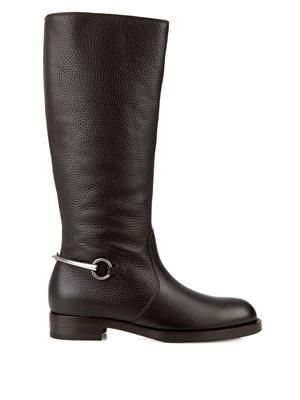 Horsebit leather riding boots