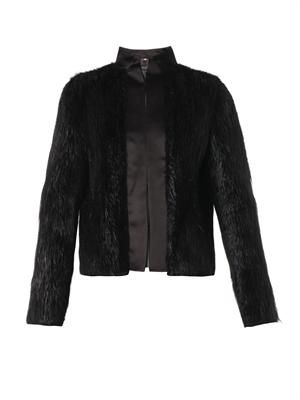 Satin-trimmed fur jacket