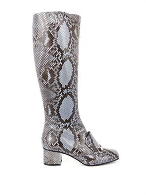 Lillian horsebit python boots