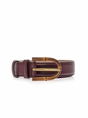 Bamboo-buckle leather belt