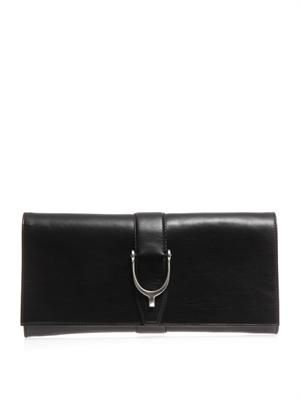 Stirrup detail leather clutch