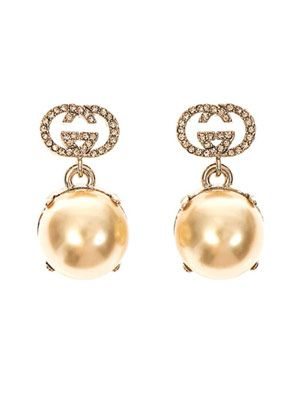 Crystal and faux-pearl earring