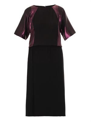 Bi-colour pleated silk-satin dress