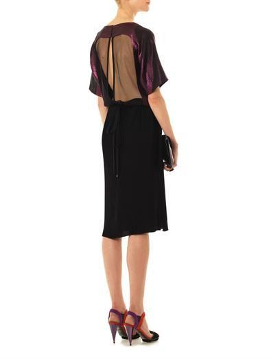 Gucci Bi-colour pleated silk-satin dress