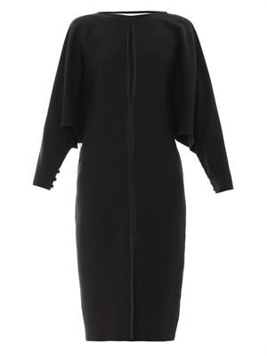 Long-sleeved silk-crepe dress