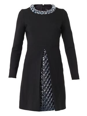 3D embellished wool and silk-crepe dress